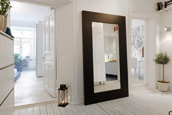 black frame floor mirror