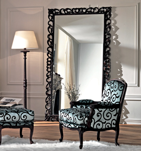 Style your home with large floor mirrors for Black framed floor length mirror