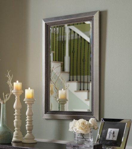 regular silver framed mirror