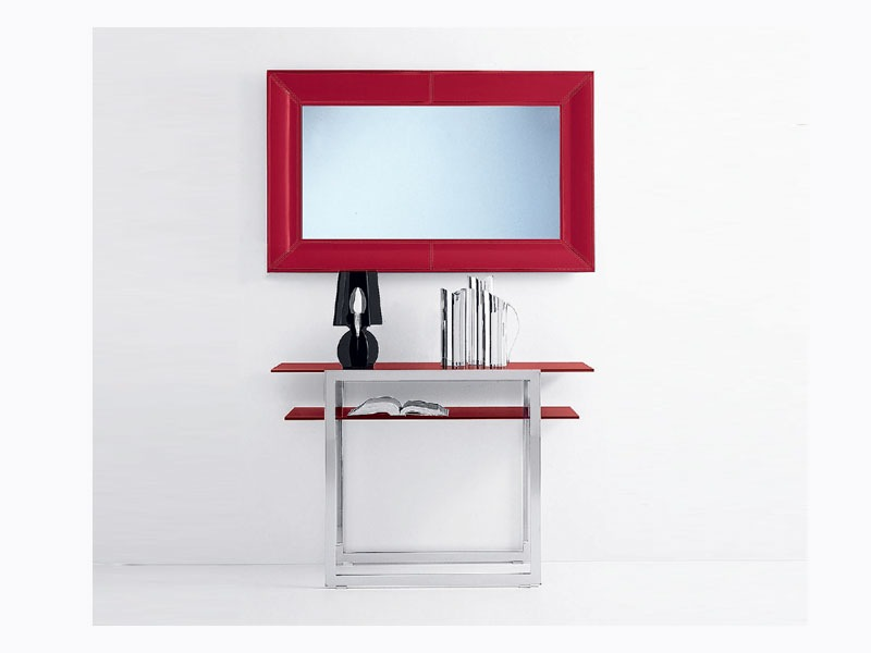 thick red framed mirror