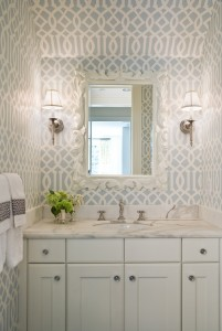white framed mirror in bathroom
