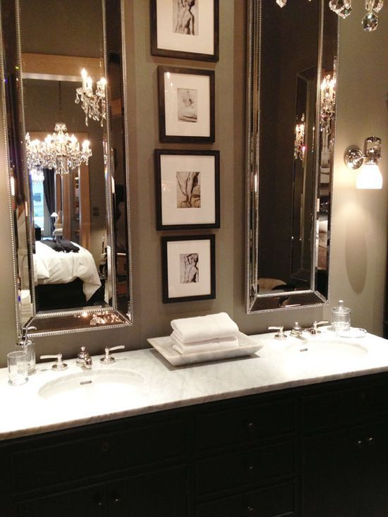 Glamorize rooms with tall mirrors for Pretty bathroom decorating ideas