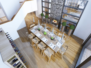 Idea of loft style dining room